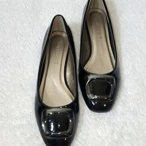 JD Williams  Black Patted Leather Flats